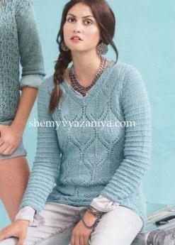 Пуловер ажурным узором с V-образным вырезом