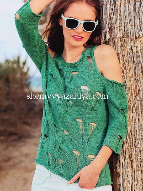 пуловер со спущенными петлями схемы вязания