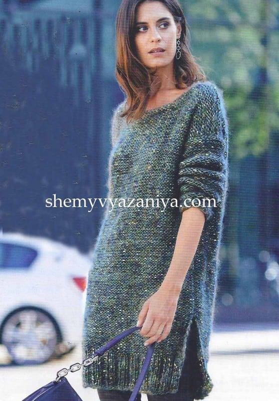 длинный пуловер с глубоким вырезом на спине схемы вязания