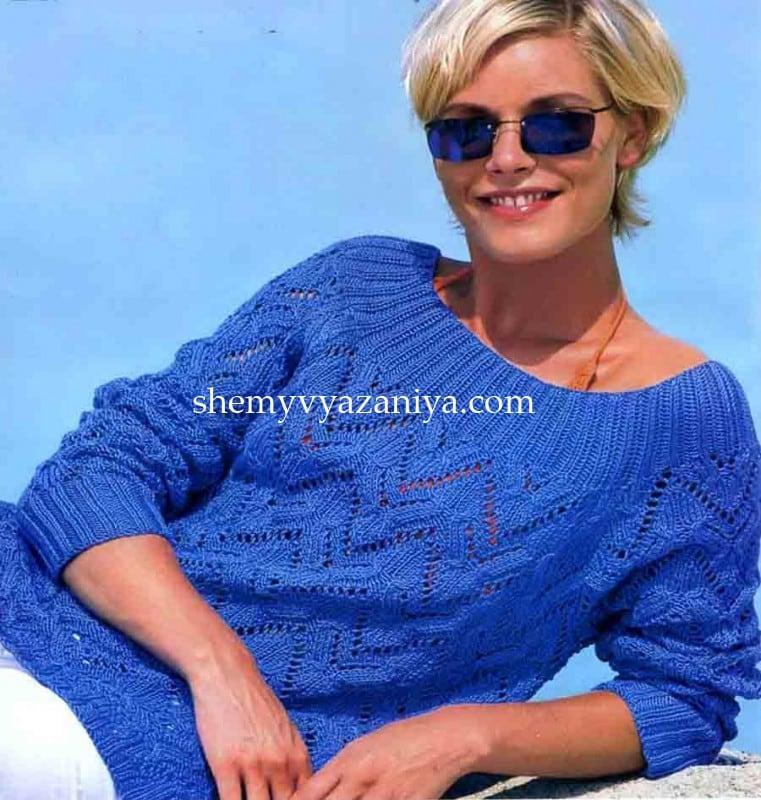 ажурный пуловер с рукавами реглан схемы вязания