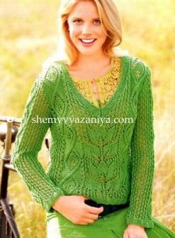 Пуловер с V-образным вырезом и сочетанием узоров
