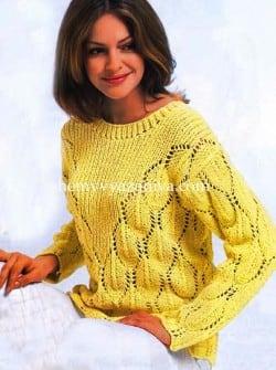 Пуловер с V-образным узором и волнистым краем