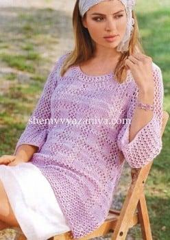 Пуловер с узором из клеток и с сетчатыми рукавами