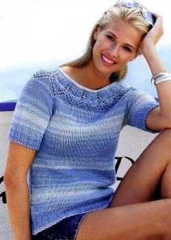 Пуловер с короткими рукавами и ажурной горловиной