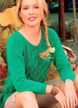 Ажурный пуловер покроя реглан