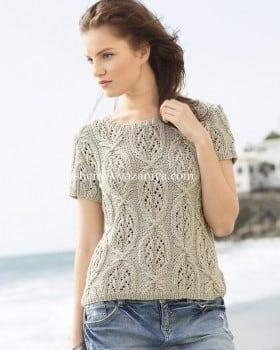 Пуловер с коротким рукавом и ажурным узором из кос