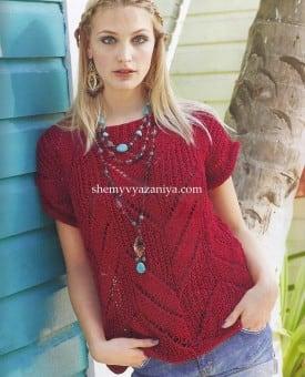 Пуловер с короткими рукавами зигзагообразным узором