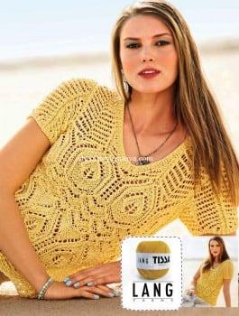 Желтый ажурный пуловер