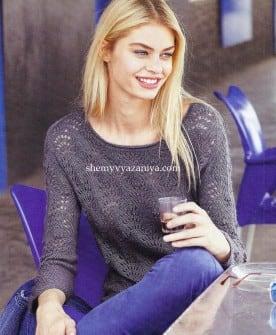 Пуловер реглан ажурным узором