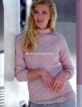 Пуловер-реглан с косой планкой крючком