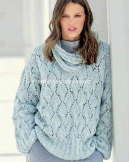 Теплый пуловер ажурным узором и шалевым воротником