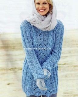 Пуловер резинкой и косами