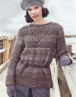 Пуловер жемчужным узором
