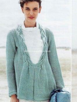 Пуловер с V-образным вырезом горловины с косами