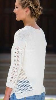 Пуловер с листиками и сетчатым узором