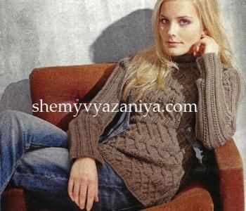 Пуловер с ромбами из кос