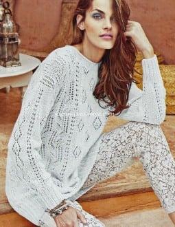 Длинный пуловер сочетанием узоров
