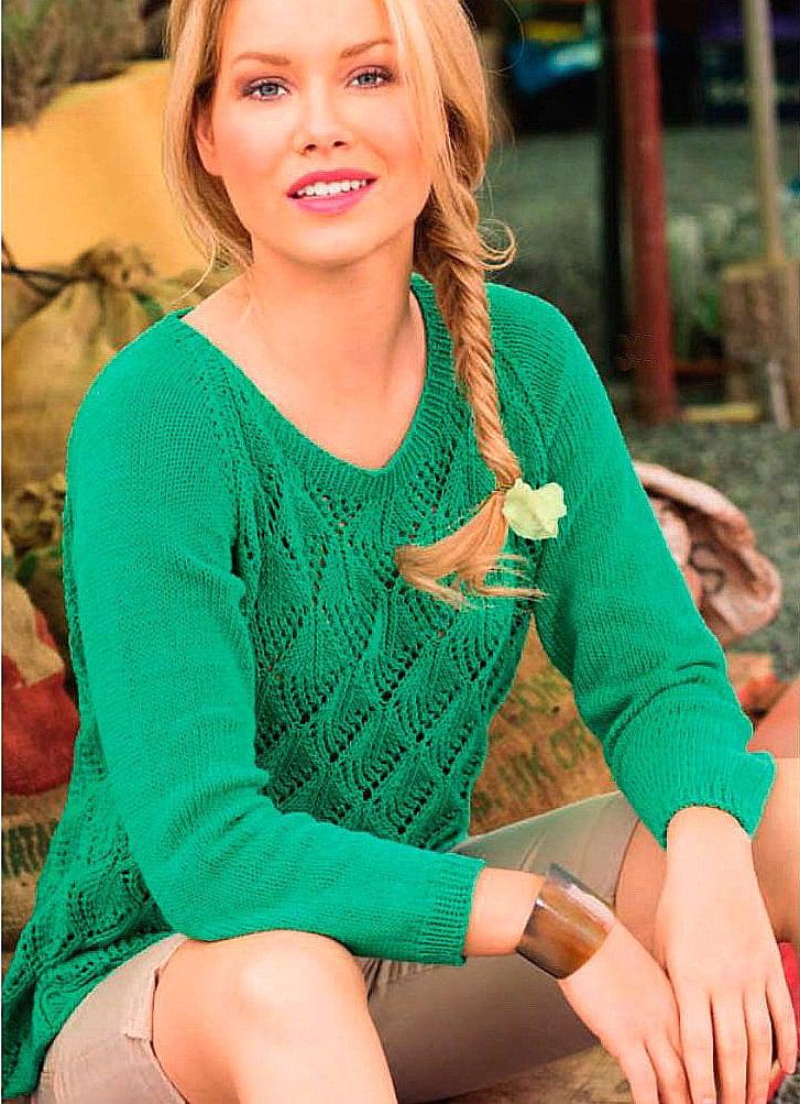 Ажурный пуловер реглан
