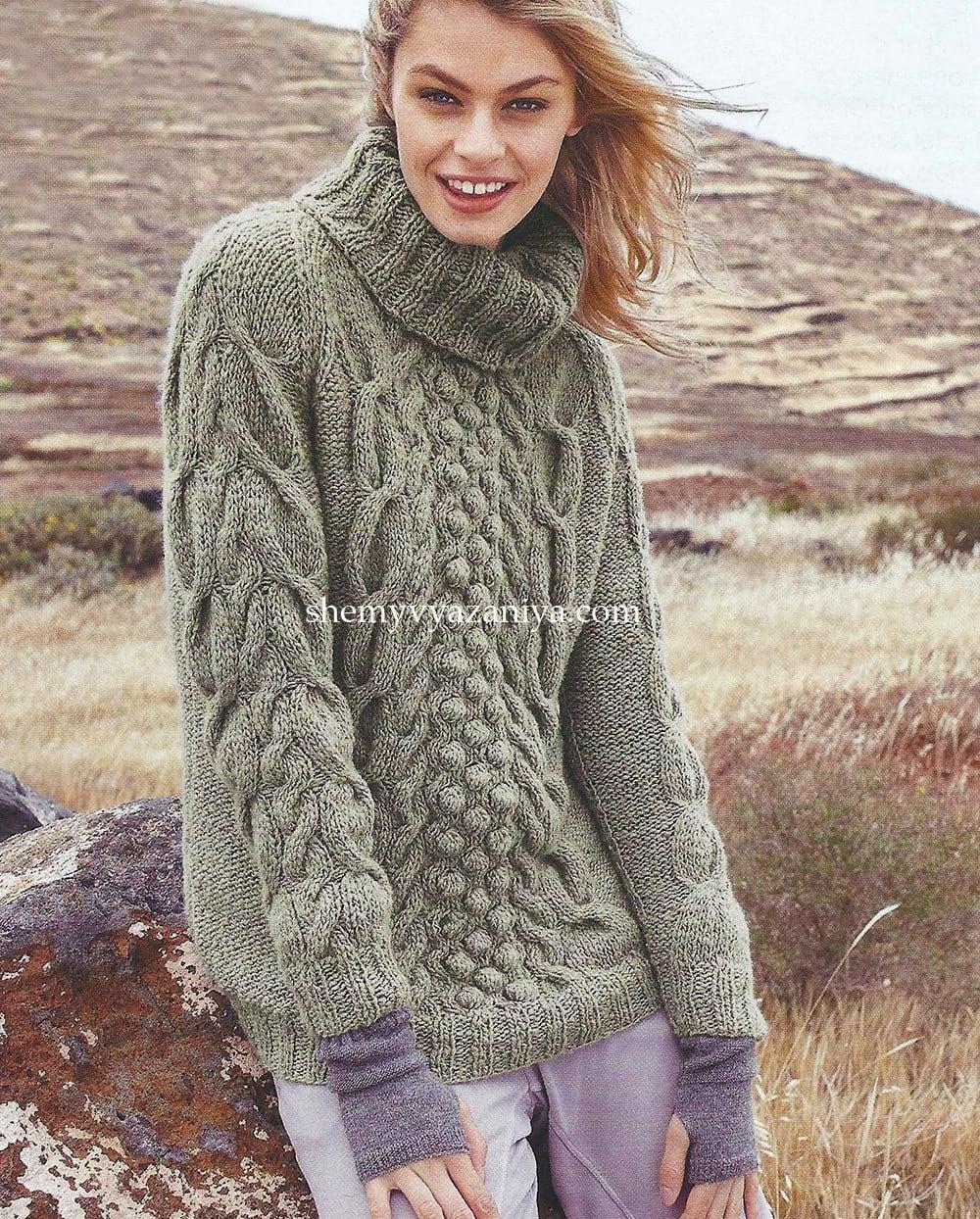 Пуловер реглан с косами