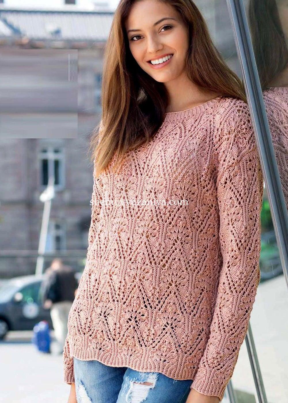Вязание спицами розовый пуловер 1