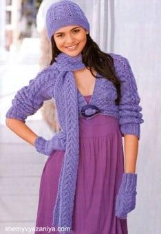 Комплект: Шапочка, болеро, шарф и варежки