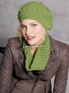 Шапка и шарф ажурным узором