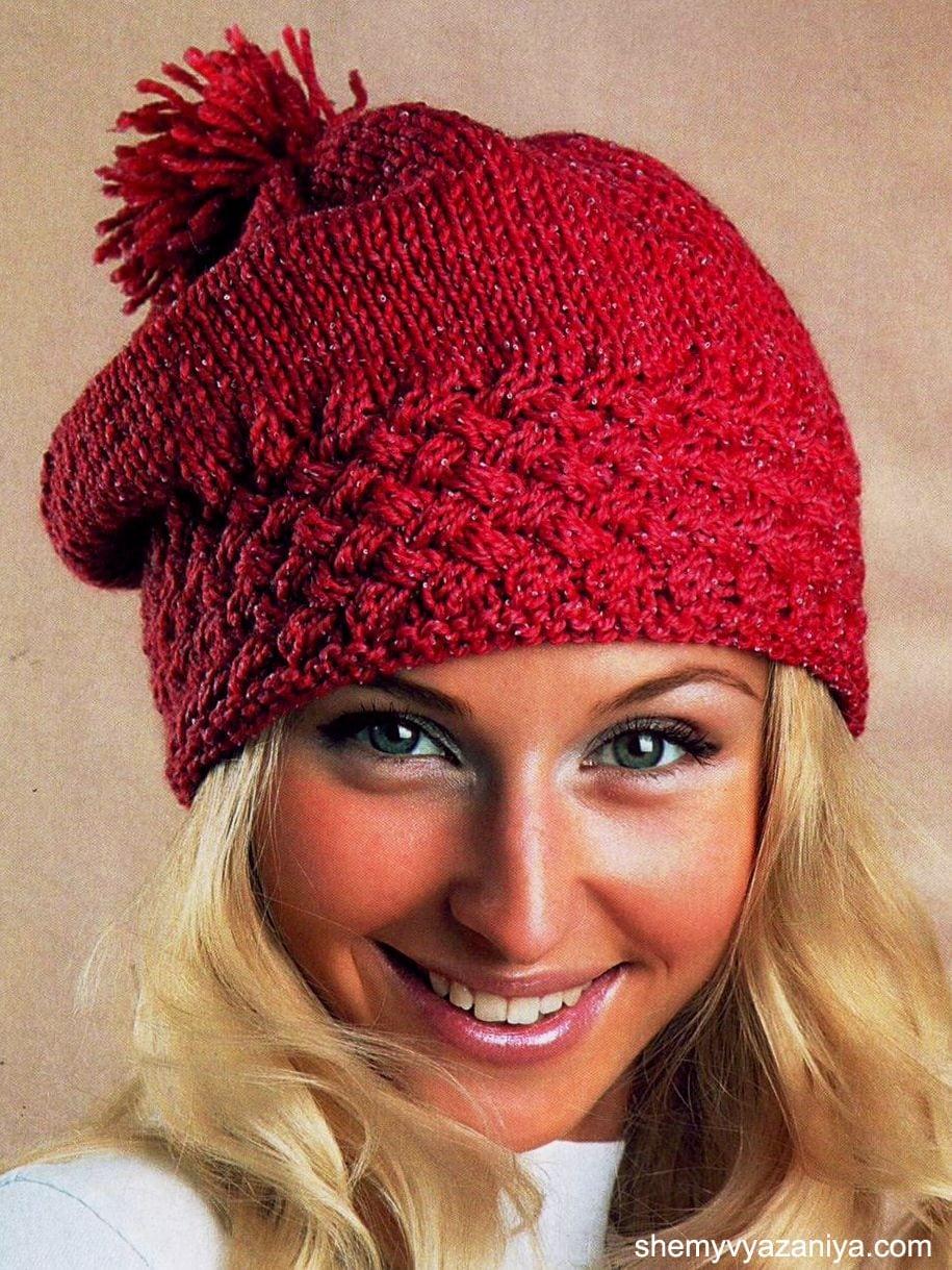 вязание шапки спицами схемы вязания
