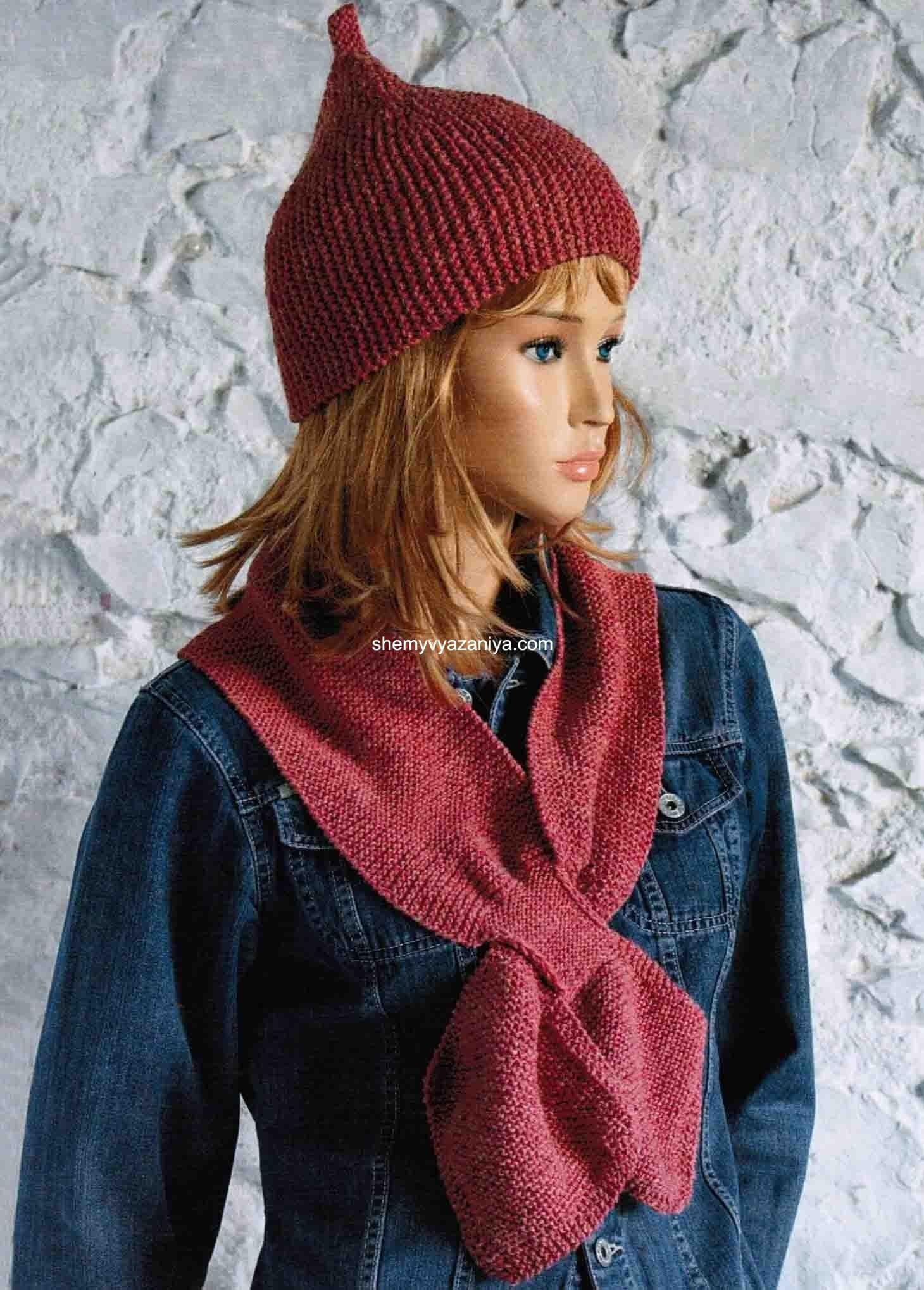 Схема вязания шапки платочной вязкой фото 545