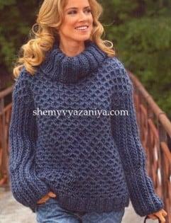 Теплый свитер с узором из сот