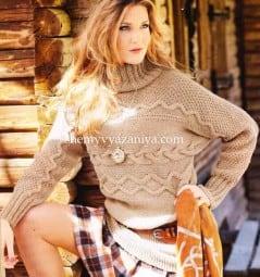 Поперечновязаный свитер рельефным узором