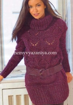 Удлиненный свитер сочетанием ажурных зигзагов с резинкой