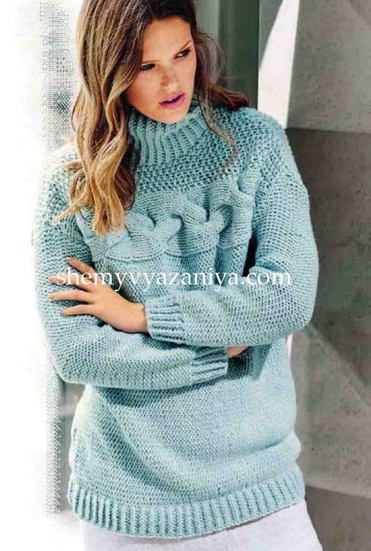 поперечно вязаный свитер с кокеткой с узором коса схемы вязания