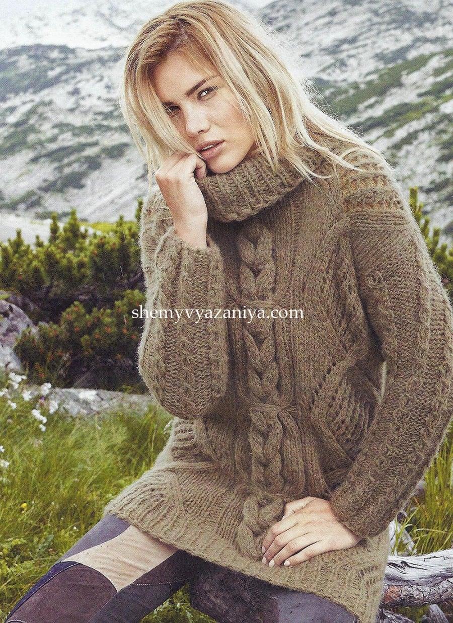 длинный свитер с узором из ромбов и кос схемы вязания