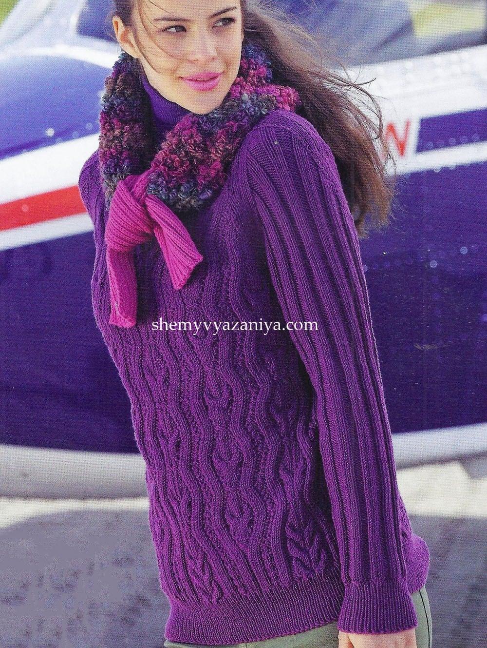 свитер спицами схемы вязания