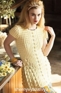 Туника/платье с ажурной резинкой и узором шишечки