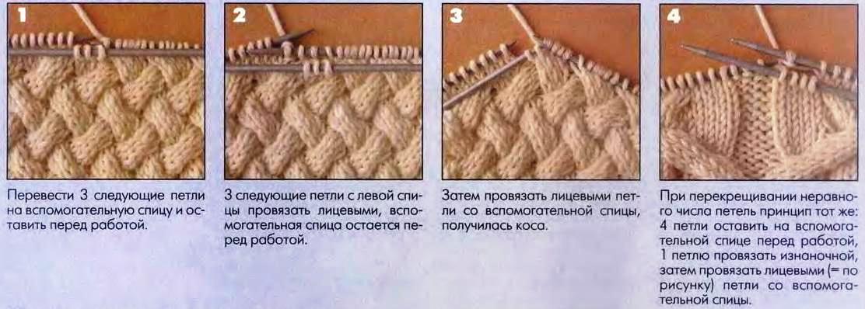 перекрещивание петель схемы вязания