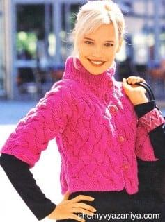 Ярко-розовый жакет с косами