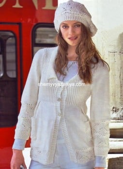 Жакет и шапочка с ажурным узором