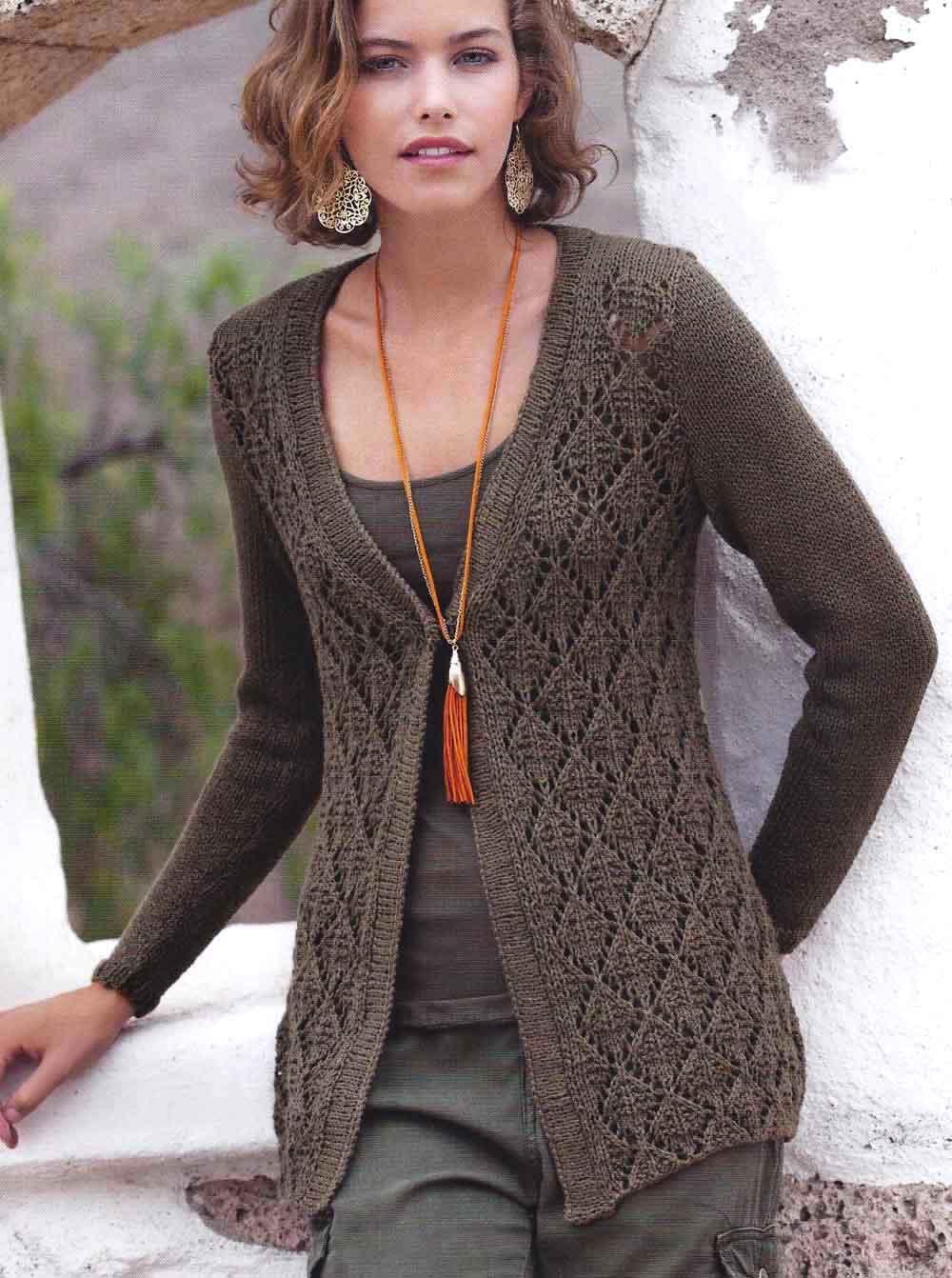 Вязание спицами для женщин кардиганы и жакеты ажурные