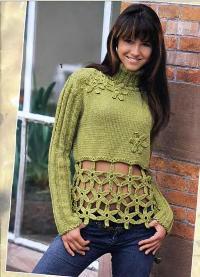 Пуловер с кружевными цветами