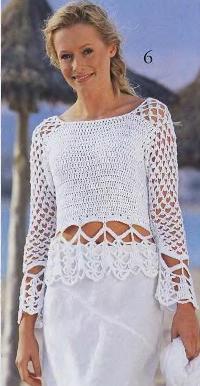 Пуловер с ажурными планками
