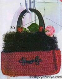 Красная сумка с черной отделкой