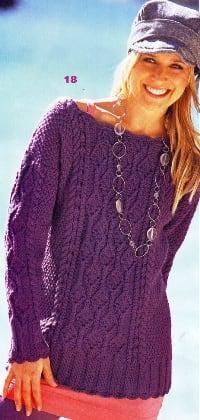 Пуловер с дорожками из ромбов